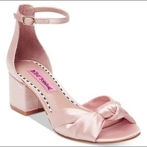 Betsey Johnson Pink Satin Ivy Blook Heel Sandals